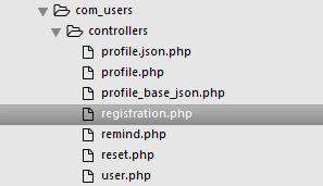 Структура контроллеров компонента com_users