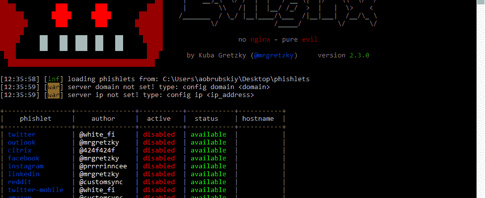 Evilginx 2 в Windows