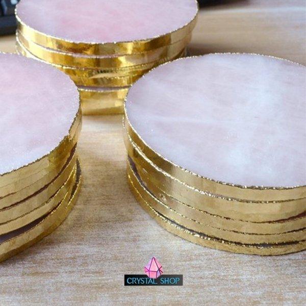 rose quartz crystal coasters