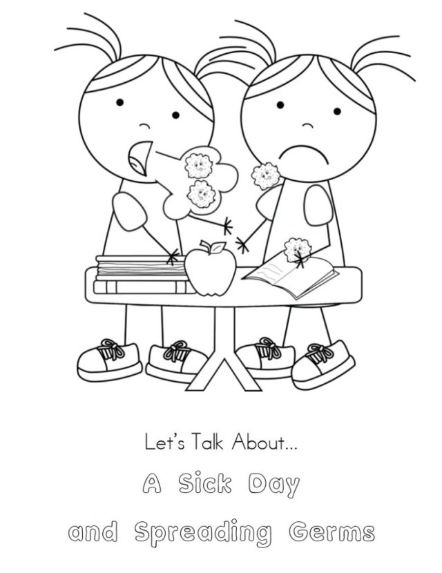 No More Spreading Germs Coloring Pages for Kids