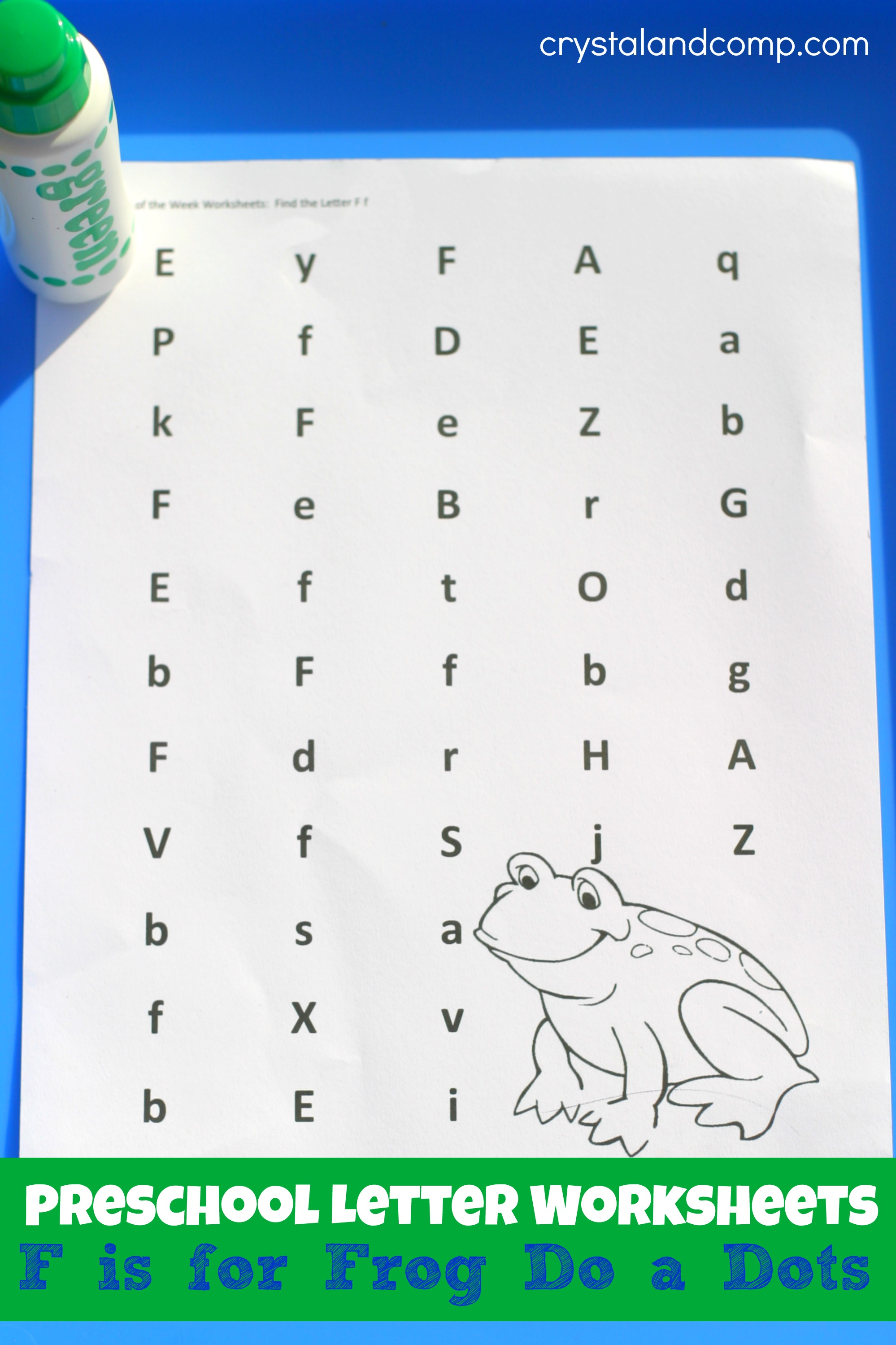 Preschool Letter Worksheets F Is For Frog