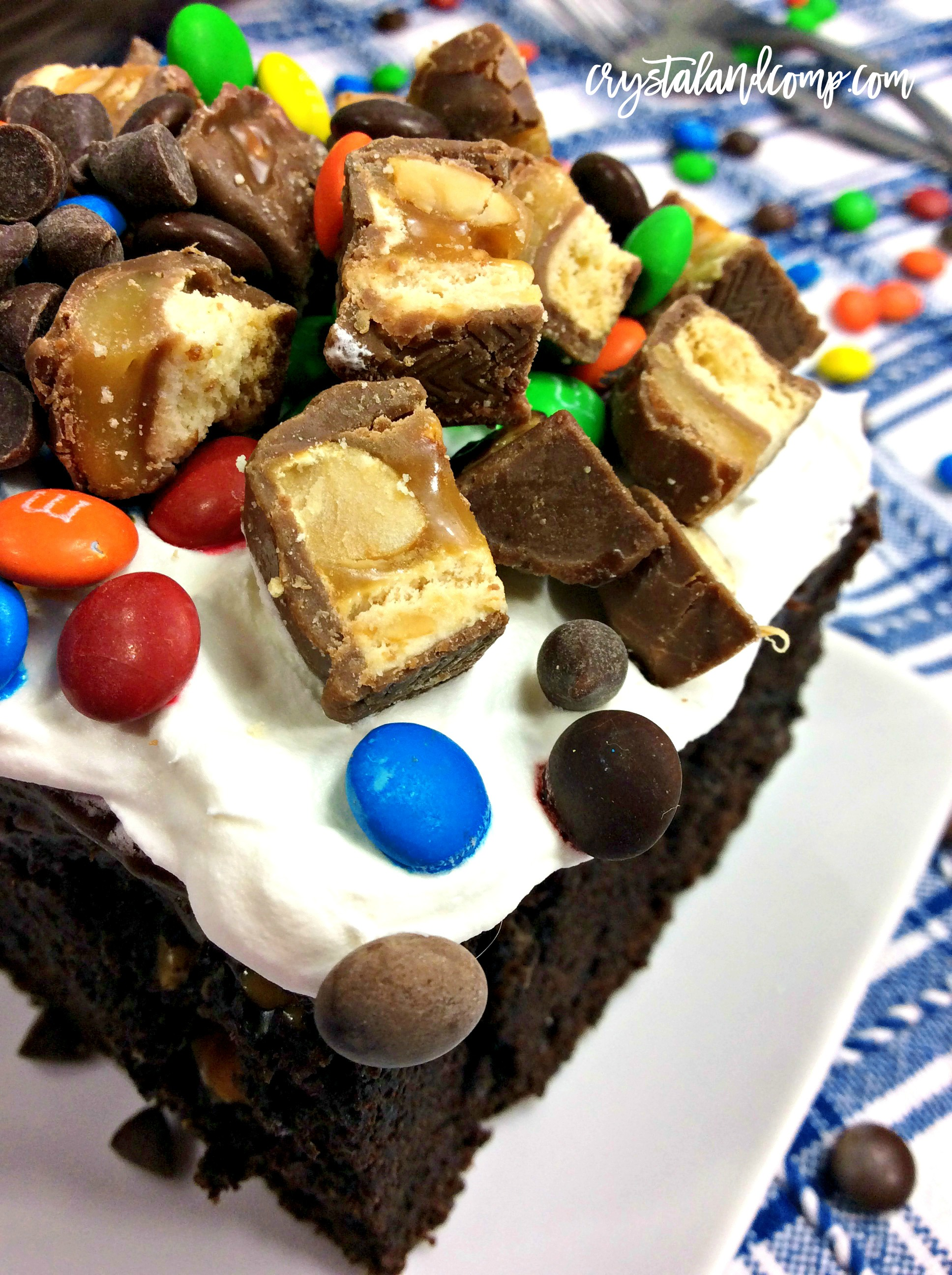 Fudge And Peanut Butter Candy Poke Cake