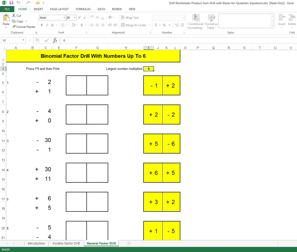 Factorising Equations Worksheet