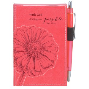 With God All Things Are Possible Pink (LuxLeather Notepad with Pen)