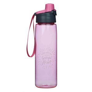 Begin Each Day With A Grateful Heart Pink (Plastic Water Bottle)