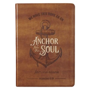 We Have Ths Hope As An Anchor For The Soul Brown (Faux Leather Journal)