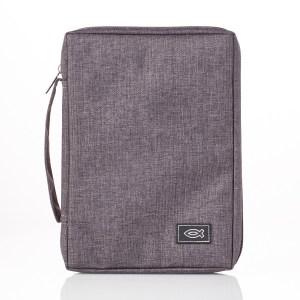 With Fish Badge Grey (Polyester Bible Bag)