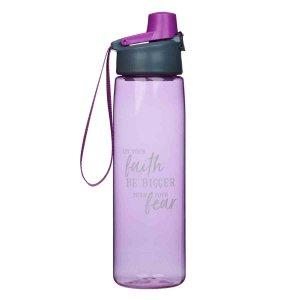 Faith Bigger Than Fear Purple (Plastic Water Bottle)