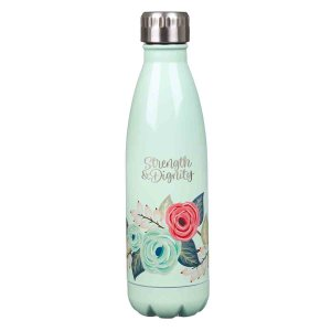 Strength & Dignity Mint Floral (Stainless Steel Water Bottle)