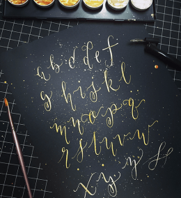 Gold Alphabet Pointed Pen Calligraphy