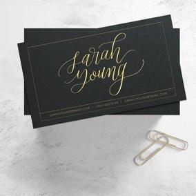 Sarah Young Business Card Calligraphy