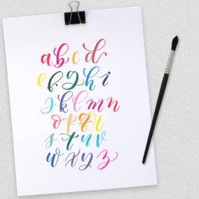 Rainbow Alphabet Hand Lettering