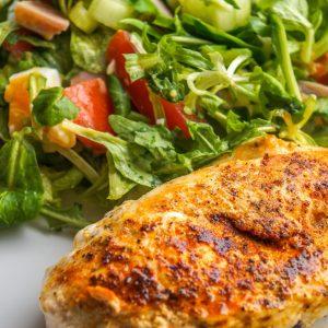 chicken breast filet, chicken, salad