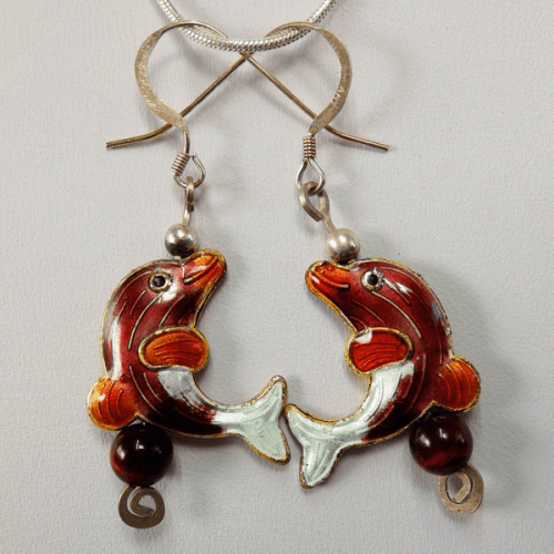 cloisonne-dolphins_red_tiger_eye_beads-sterling_silver-french_wire_earrings