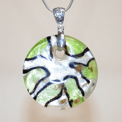 Silver, Brown and Green Fused Glass Pendant