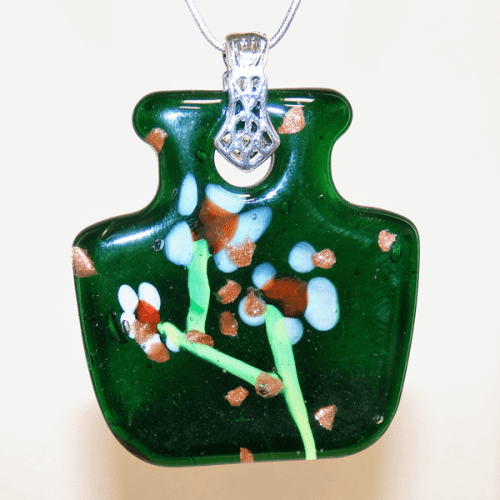 Dark Green Fused Glass Flower Vase Pendant
