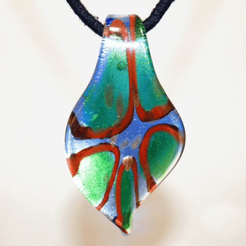 Brown, Blue, Green, Silver and Gold Lamp Glass Pendant