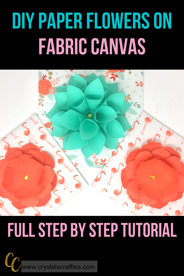 DIY Paper Flowers on Fabric Covered Canvas Panels...and easy at home DIY