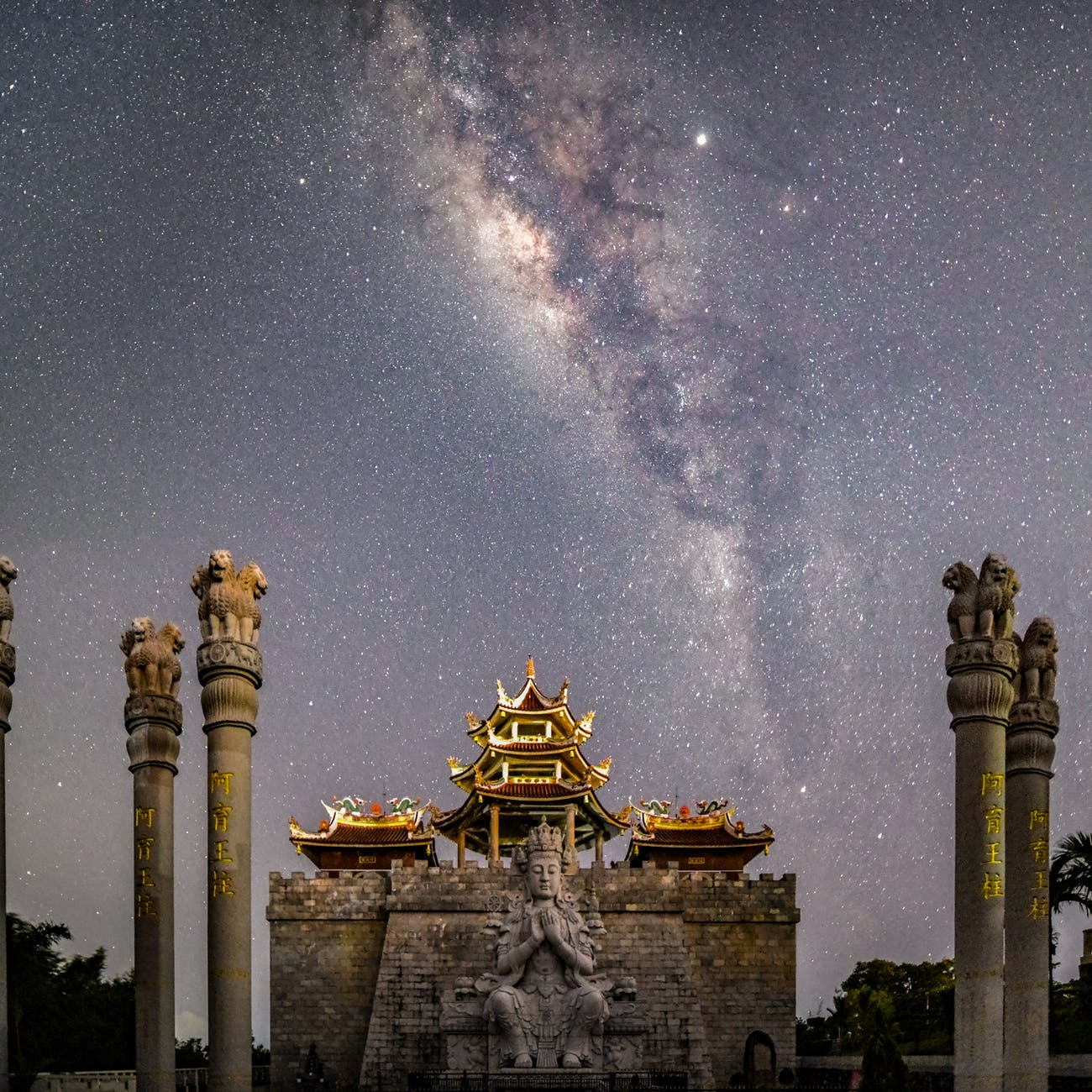 a temple under a starry sky