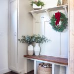 Finished Mudroom Entryway Decorated for Christmas