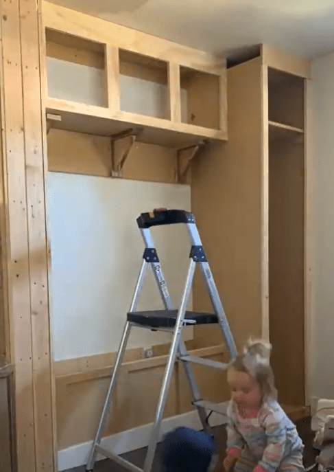 progress shot of the mudroom with completed face frames and trim