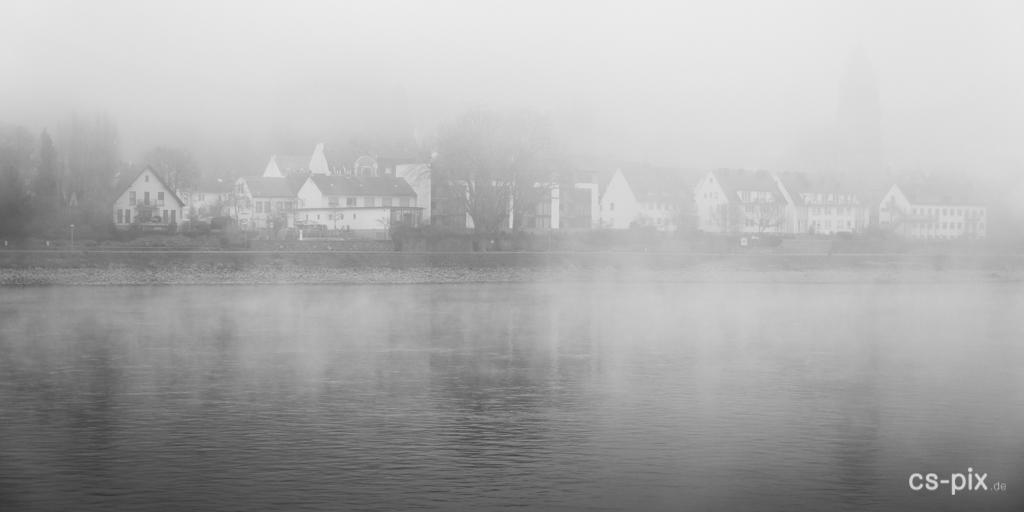 Rhein im Nebel, kontrastarm, mit langweiligem Vordergrund