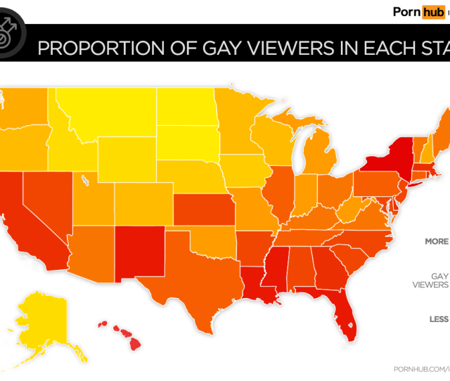 Pornhub Insights Proportion Gay Viewers United States Map