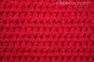 Häkelmuster - Teppichstich häkeln - tiefere halbe Stäbchen in Reihen
