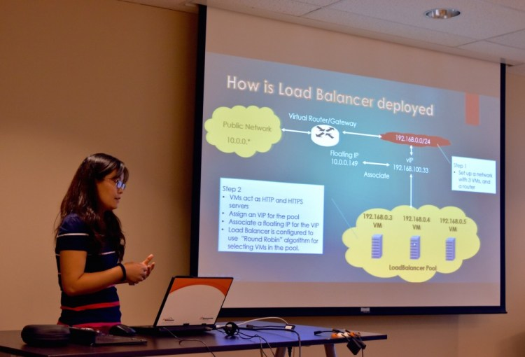 Xiangyu Wang, presenting her project on LoadBalancer Test Vehicle, which ran traffic patterns through OpenStack Load Balancers, verifying which hosts were responding to clients, and the demonstrated effect of LoadBalancer Pool monitors, as hosts became inactive.