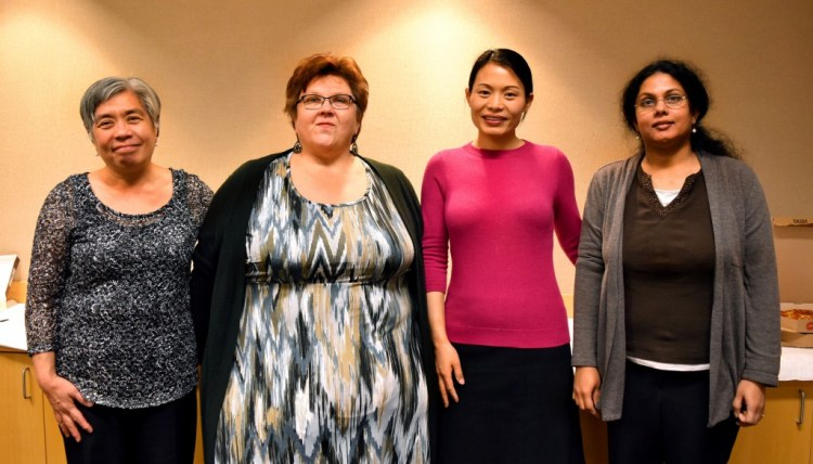 From the left: Dr. Linda Morales, Dr. Janell Straach, Dr. Jo Zhang, and Dr. Pushpa Kumar.