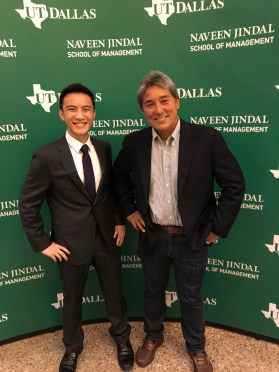 Brian Hoang standing next to Guy Takeo Kawasaki, an former Apple executive, marketing specialist and Silicon Valley venture capitalist, at the Big Idea Competition.