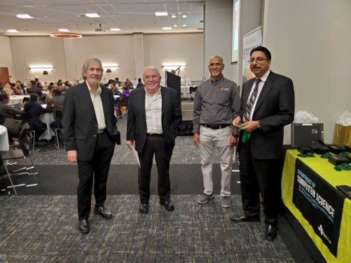 From the left: Drs. Ivor Page, Hal Sudborough, Prof. Shyam Karrah, and Dr. Gopal Gupta