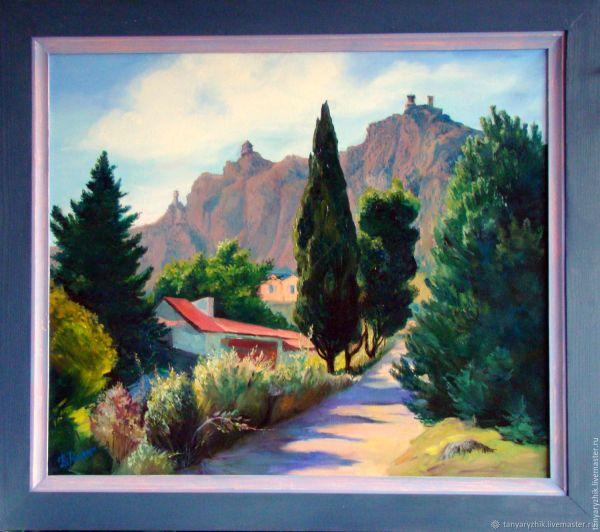Горный пейзаж: Дорога к Сан-Марино, картина маслом ...
