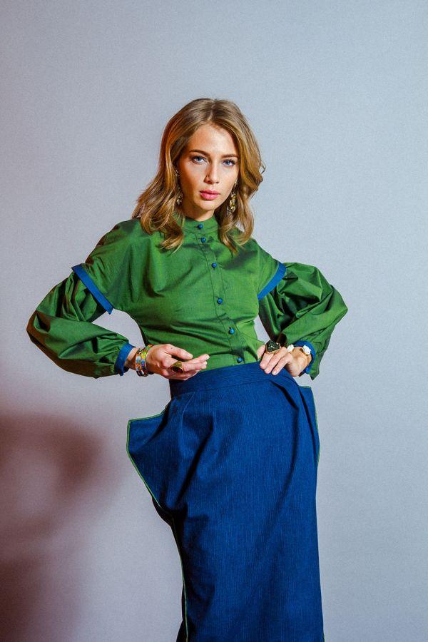 Клевер - зеленая блузка с пышным рукавом – купить на ...