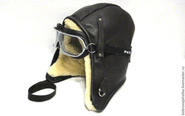 Кожаный шлем летчика на натуральном меху Зимняя шапка ...