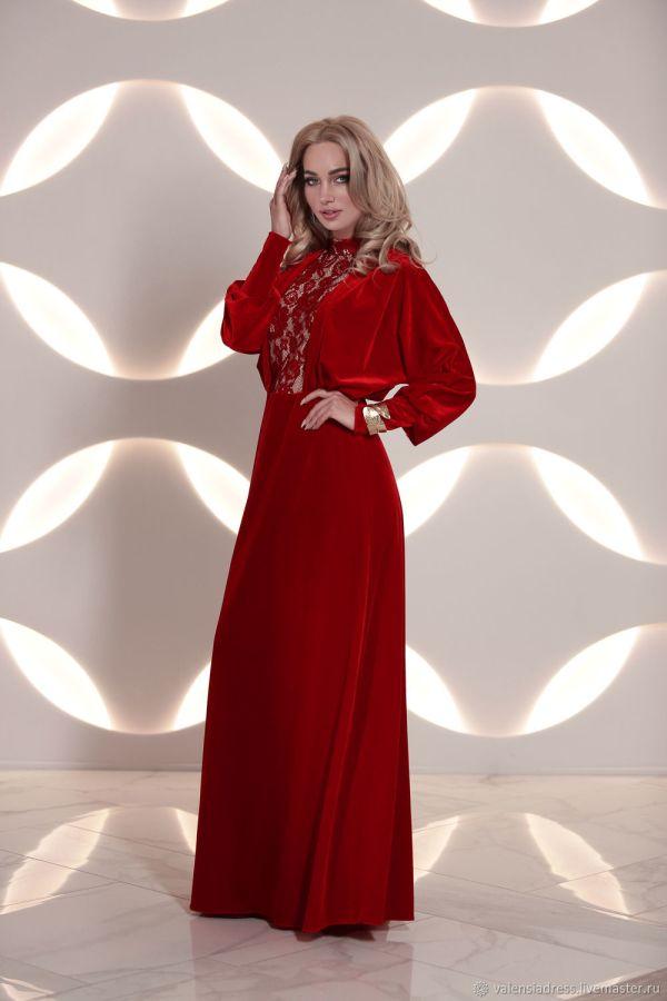 Платья: красное вечернее платье из бархата Королевская ...