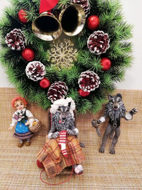 Красная шапочка, Волк и бабушка - елочные игрушки из ваты ...