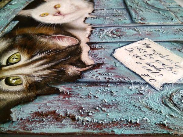 Картина маслом Два озорных кота Бо и Бу – заказать на ...