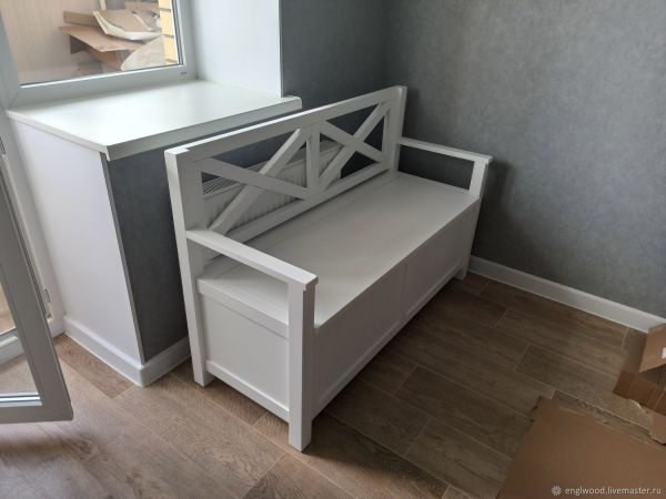 Скамья в стиле прованс из дерева (бук) для кухни, прихожей ...