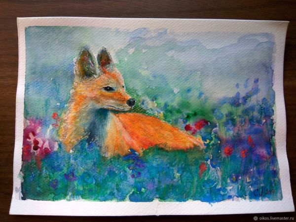 Mini painting watercolor with a red Fox in a field of ...
