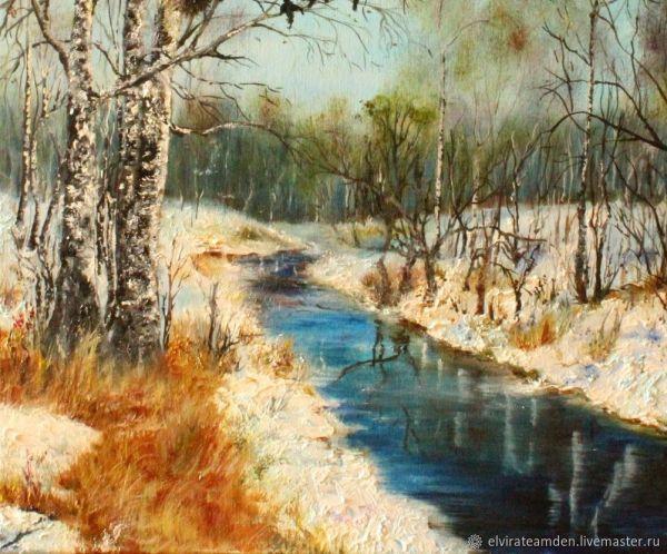 Картина маслом Весна пришла Весенний пейзаж Весенний лес ...