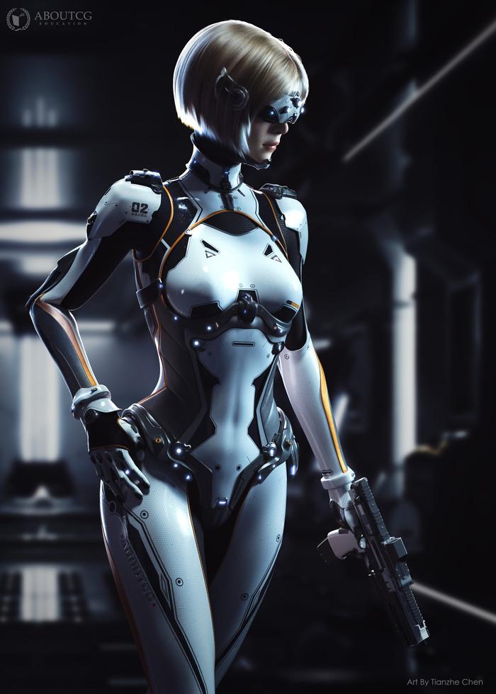 Cyberpunk self design work Арт, Девушки, Artstation, 3D, Киберпанк, Длиннопост
