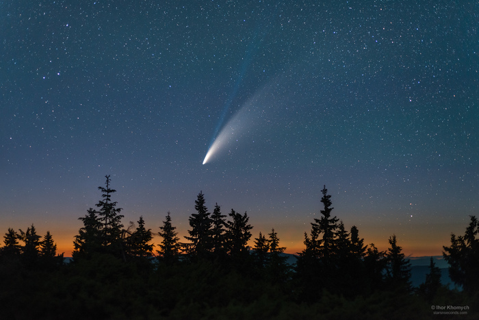 Комета C/2020 F3 (NEOWISE) над Карпатами Звёзды, Астрофото, Астрономия, Комета, Горы, Карпаты, Пейзаж, Neowise