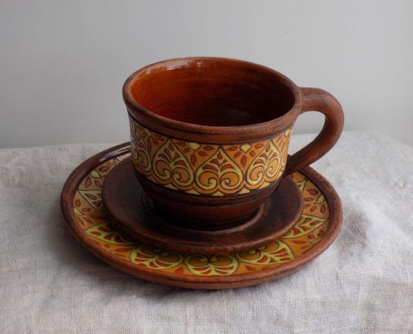 Посуда для кухни. Керамика. Чайная пара + десертная ...