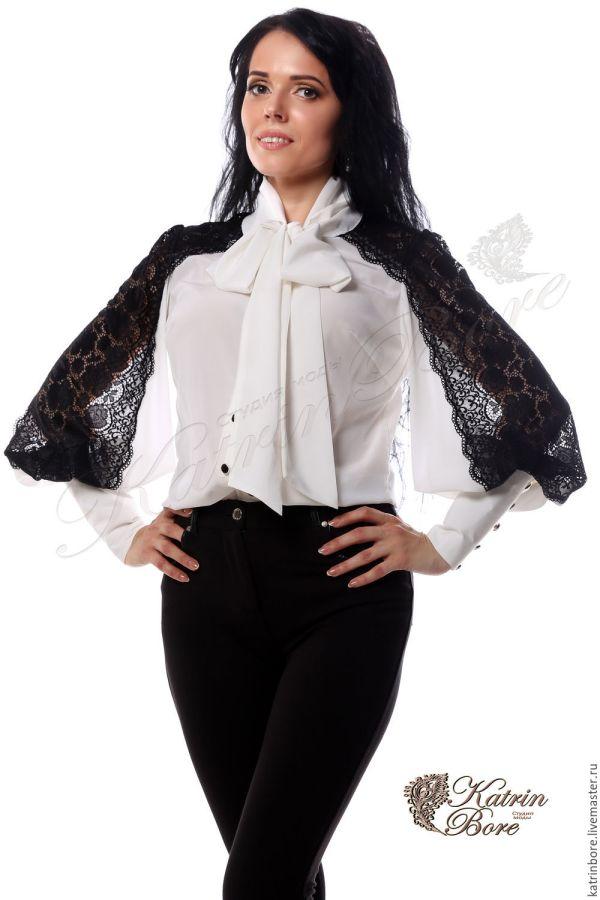 """Блузка из шелка и кружева """"Черным по белому"""" – заказать на ..."""