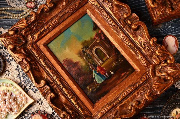 Винтаж: Картина старинная в золоченой резной раме – купить ...