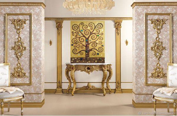 Картина Дерево Счастья, дерево Жизни, золотая, в стиле ...