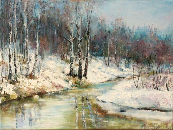 Картина маслом Весенний пейзаж Лесная река Весенний лес ...