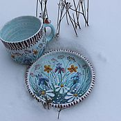 Блюдо керамическое, тарелка настенная Ромашка ( майолика ...