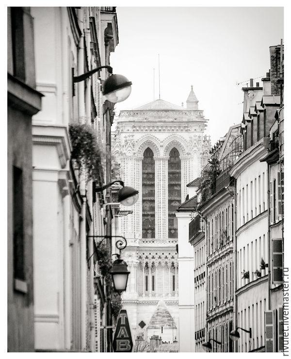 Фотокартина город, Черно белые картины Париж «Улица Тампль ...